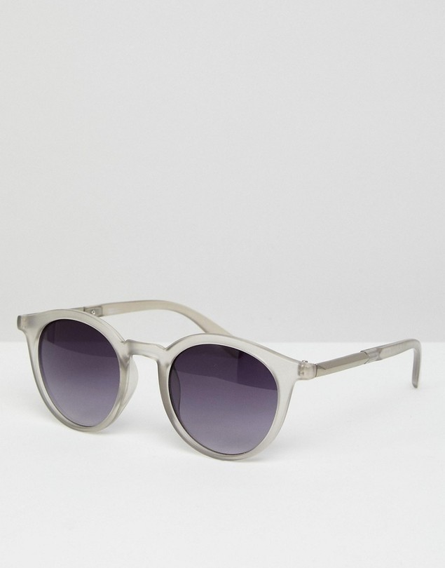 ASOS Round Sunglasses In Frosted Crystal With Smoke Lens - Clear