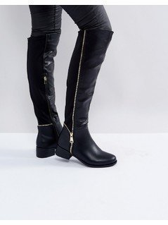 Truffle Collection Zip Detail Elastic Flat Over Knee Boot - Black