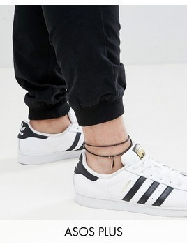 ASOS DESIGN Plus Leather Anklet With Feather - Black