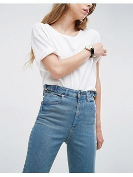 ASOS FARLEIGH High Waist Slim Mom Jeans in Cynthia London Blue with Side Tabs and Step Hem - Blue