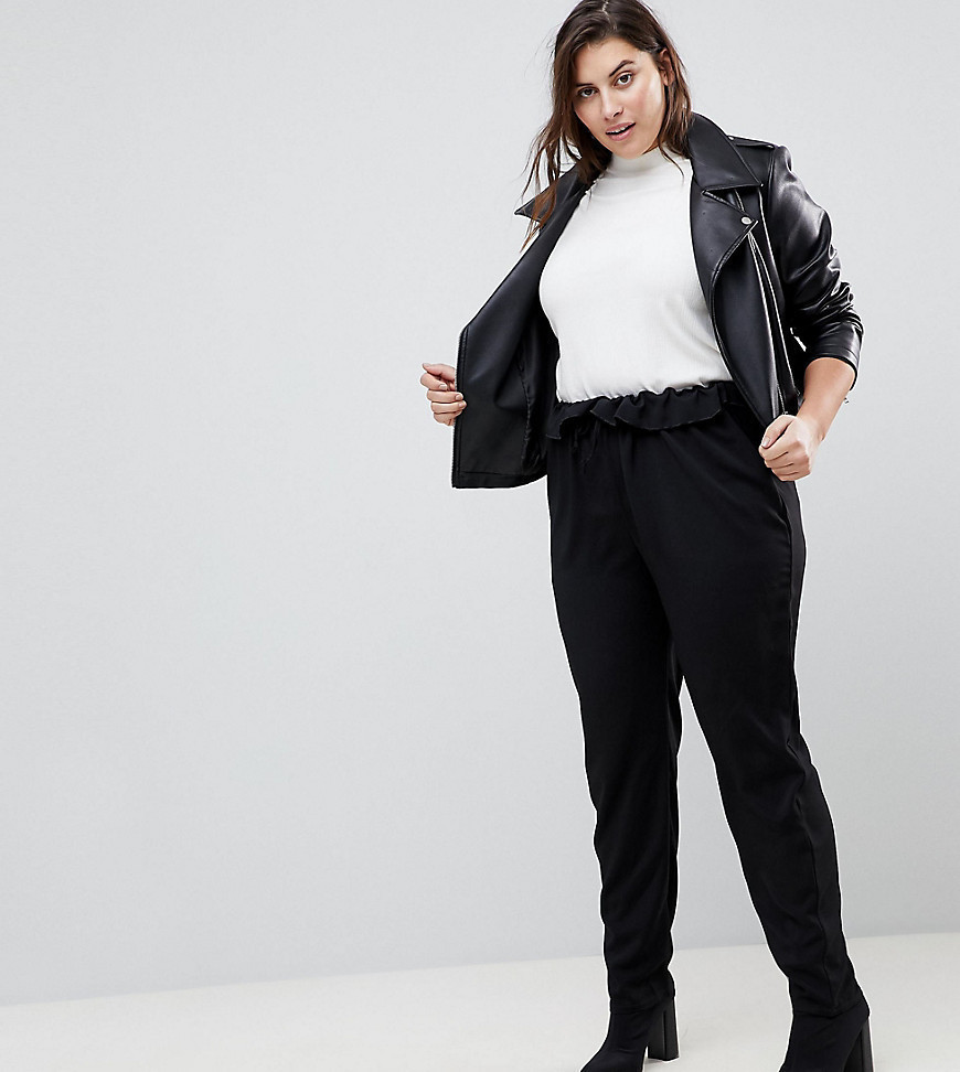 Boohoo Plus Paperbag Waist Trousers - Black