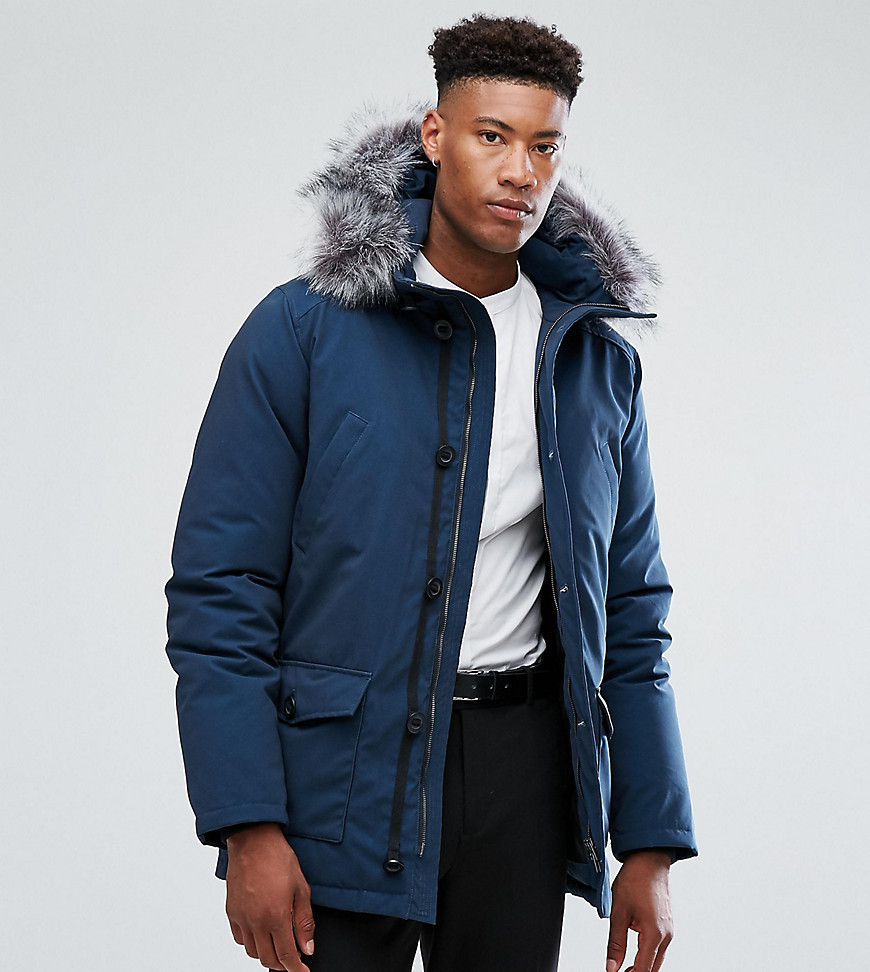 Devils Advocate TALL Premium Parka With Japanese Faux Fur Hood Coat - Navy