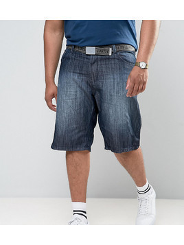 Loyalty and Faith PLUS Brockers 5 Pocket Denim Shorts with Belt - Blue