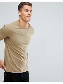 Produkt T-Shirt With Roll Hem and Raglan Sleeve - Beige