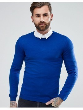 ASOS Muscle Fit Merino Wool Jumper In Cobalt - Blue