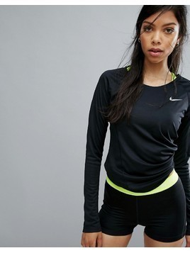 Nike Running Dry Miler Long Sleeve Top - Black
