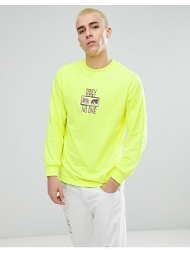 Obey No One Long Sleeve T-Shirt With Logo - Green