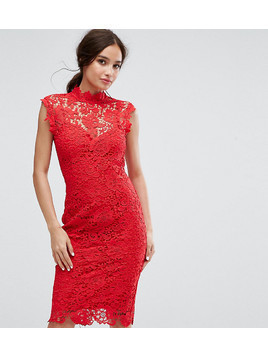 Paper Dolls High Neck Crochet Lace Pencil Dress - Red