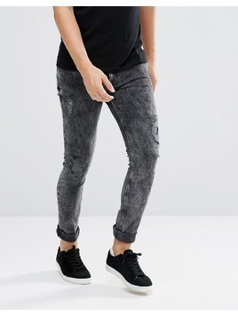ASOS Super Skinny Jeans In Vintage Washed Black With Rip And Repair - Black