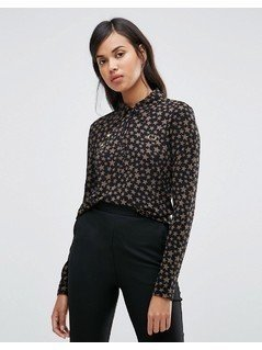 Fred Perry Bella Freud Star Print Retro Pique Shirt - Black