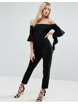 ASOS Bardot Jumpsuit with Ruffle Sleeve Detail - Black