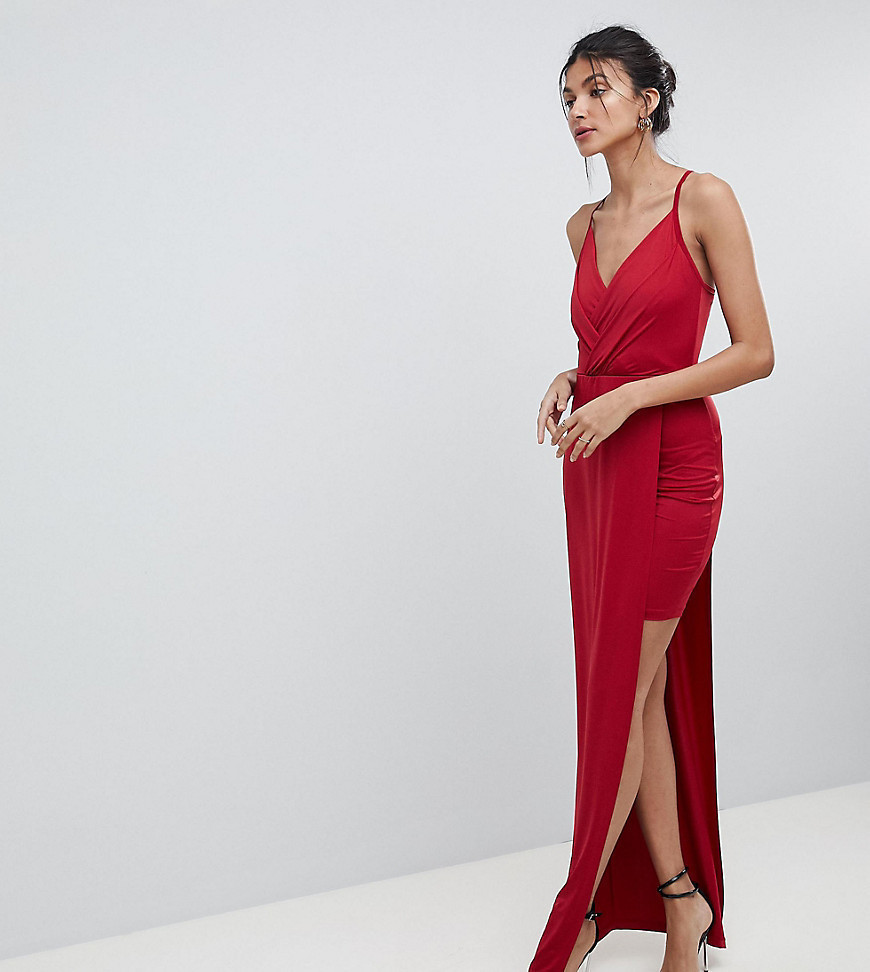 ASOS TALL Slinky Wrap Mini Dress With Maxi Overlay - Red