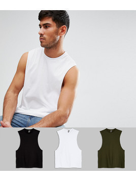 ASOS Relaxed Vest With Dropped Armhole 3 Pack Save - Multi
