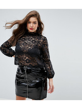 John Zack Plus Cutwork Lace Top With Blouson Sleeve - Black