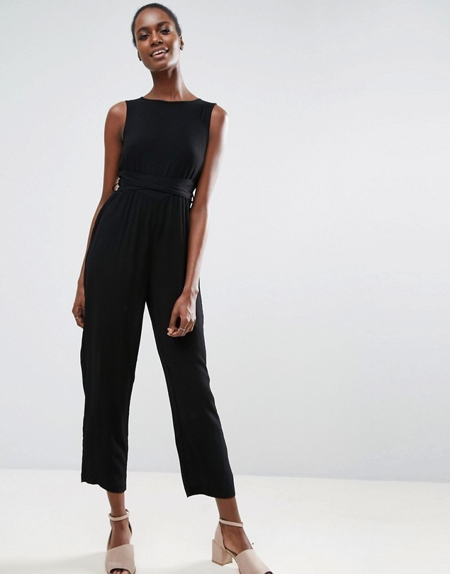 ASOS Jumpsuit in Crinkle with Waist Wrap Tie - Black