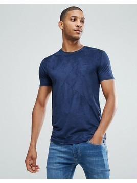 Loyalty and Faith Panelled Suedette T-Shirt - Navy