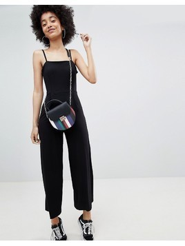 Bershka plain wide leg jumpsuit in black - Black