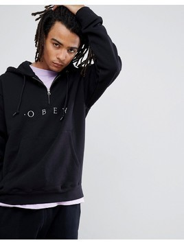 Obey 1/4 Zip Hoody With Logo In Black - Black