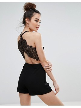 Pull&Bear Lace Back Detail Playsuit - Black