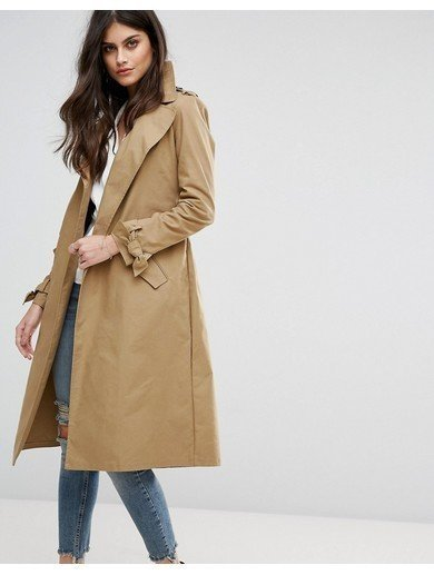 River Island Belted Trench Coat - Beige