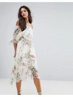River Island Floral Print Bardot Midi Dress - Cream