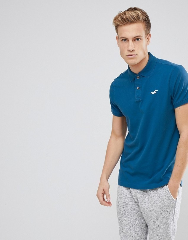 Hollister Stretch Pique Polo Seagull Logo in Blue - Blue