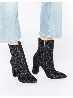 Carvela Garnet Glitter Point Heeled Ankle Boots - Multi