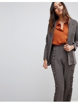 Love Check Open Blazer - Brown