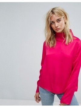 Weekday Slinky High Neck Shirt - Pink