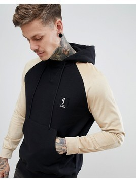 Religion Hoodie With Contrast Faux Suede Sleeve - Black