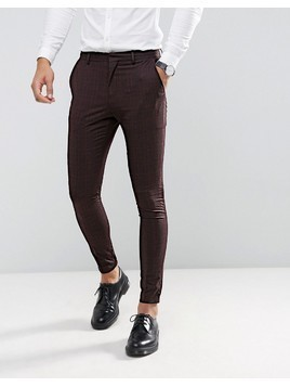 Selected Homme Super Skinny Suit Trousers In Burgundy Check - Red