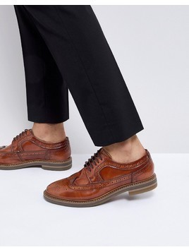 Base London Turner Leather Brogue Shoes in Tan - Tan