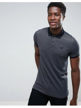 Hollister Polo Stretch Pique Icon Logo Slim Fit in Dark Grey - Grey