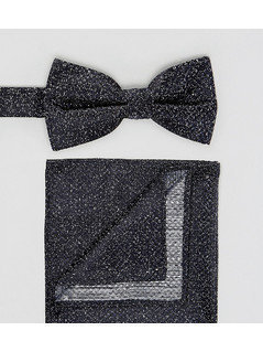 New Look Speckled Bow Tie And Pocket Square In Navy - Navy