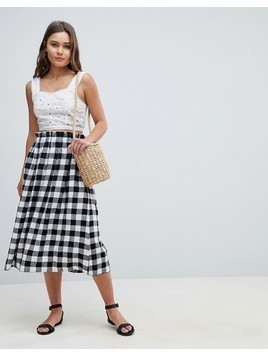 ASOS DESIGN tailored linen prom skirt in check - Multi