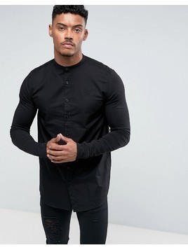 SikSilk Muscle Shirt In Black With Jersey Sleeves - Black