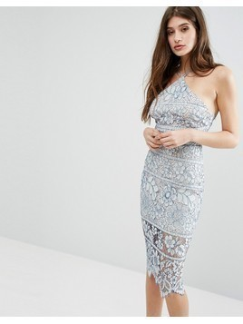 Boohoo Lace Midi Bodycon Dress - Blue
