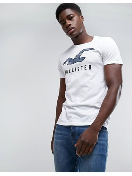 Hollister Crew T-Shirt Large Tech Icon Camo Slim Fit in White - White