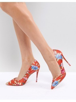 ALDO Heeled Court Shoe in Red Floral Print - Orange