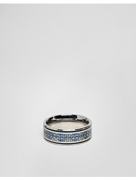 Seven London Engraved Band Ring - Silver