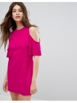 Bershka Cold Shoulder Shift Dress - Pink