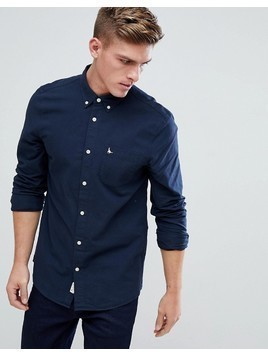 Jack Wills Wadsworth Regular Fit Brushed Oxford Shirt In Navy - Navy