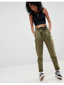 Noisy May Megan High Waisted Army Trousers - Green