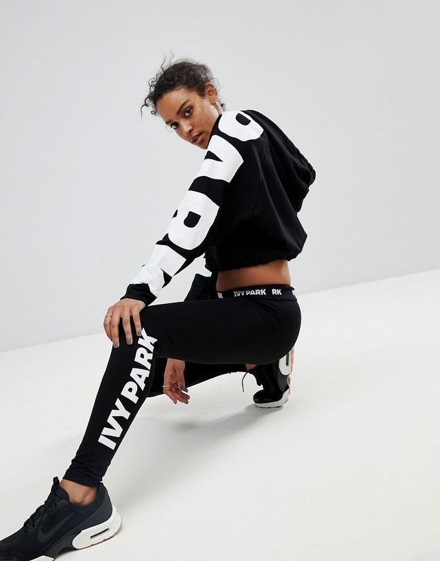 Ivy Park Logo Leggings In Black - Black
