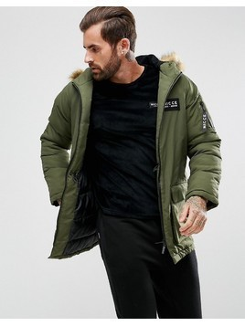 Nicce London Puffer Parka In Khaki With Faux Fur Hood - Green