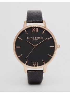 Olivia Burton OB15BD66 Big Dial Leather Watch In Black&Rose Gold - Black