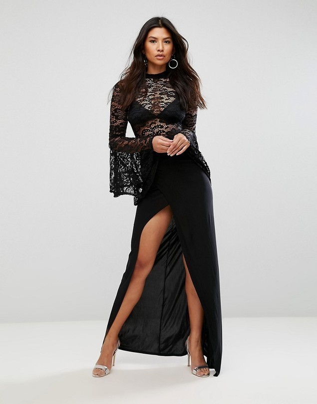 Club L Lace Flute Sleeve High Neck Maxi Dress With Wrap Front Skirt - Black