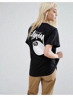 Stussy Oversized T-Shirt With Script Logo&8 Ball - Black