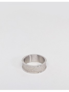 ASOS DESIGN Stainless Steel Ring With Emboss - Silver
