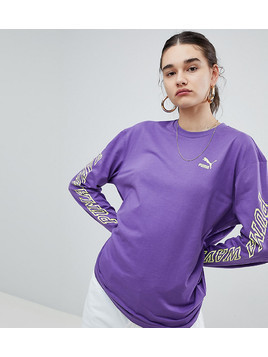 Puma Exclusive To ASOS Long Sleeve T-Shirt With Neon Back Graphic In Purple - Purple